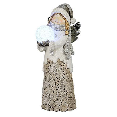 Formano Deko-Engel aus Kunststein in Holzoptik mit LED-Lichtkugel, 39x14 cm, 1 Stück, Weiß-Braun (inkl. Batterien und Timer)