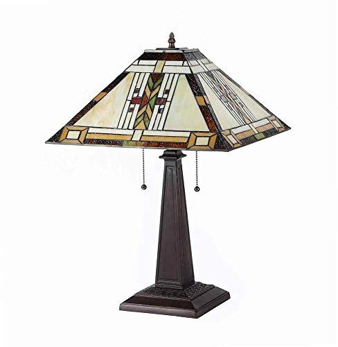 """Chloe Lighting CH33291MS16-TL2""""GODE"""" Tiffany-Style Mission 2 Light Table Lamp 16-Inch Shade"""