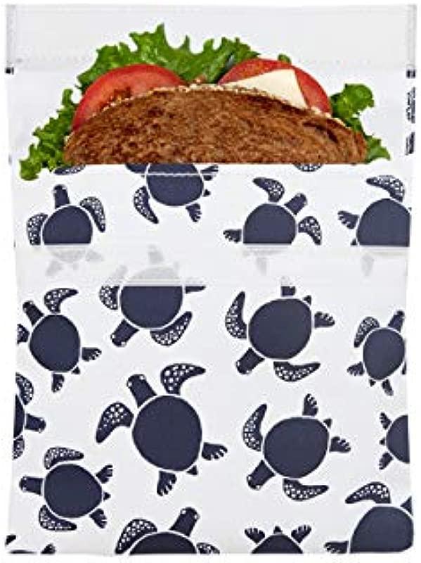 Lunchskins LS1 SEATURTLE NAV Reusable Sandwhich Food Bag Sandwich Navy Seaturtle