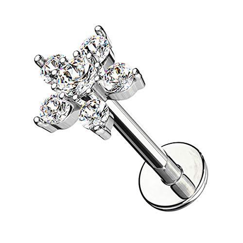 Piercingfaktor Piercing Stab mit Kristall Blume Lippe Ohr Labret Tragus Helix Knorpel Stecker Lippenpiercing Ohrpiercing 6mm Silber Clear