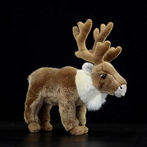 Simulatie Rendieren Knuffel Speelgoed Bruin Peary Caribou Knuffel Levensechte Wilde Dieren Herten Pluche Poppen Kerstcadeaus 30 Cm