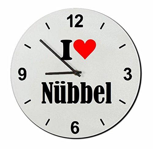 Druckerlebnis24 Glasuhr I Love Nübbel eine tolle Geschenkidee die von Herzen kommt  Wanduhr  Geschenktipp: Weihnachten Jahrestag Geburtstag Lieblingsmensch