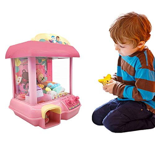 ForBEST Claw Machine Doll Machine with 12 Dolls Removable Remote Control USB Cable Adjustable Sounds and Lights Best Gift Toy for Kids Pink