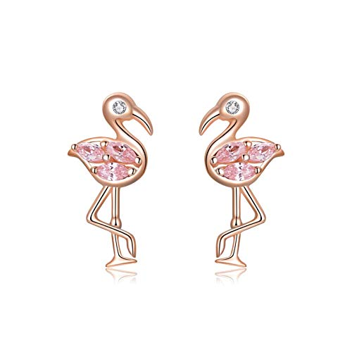 HMMJ Women S925 Sterling Silver Girl Pink Crystal Hypoallergenic Rose Gold Plated Flamingo Stud Earrings