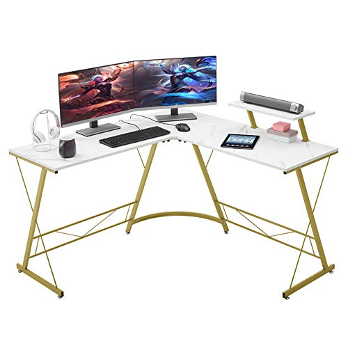 """Mr IRONSTONE L-Shaped Desk 50.8"""" Computer Corner Desk, Home Gaming Desk, Office Writing Workstation with Large Monitor Stand, Space-Saving, Easy to Assemble(Laminate Marble)"""