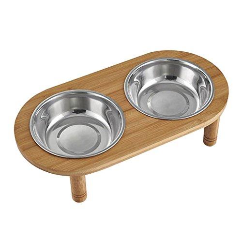 Yuncai Antiscivolo Cibo e Acqua Ciotola Animali Domestici di Stent di bambù Acciaio Inox Doppia Ciotola per Cane Gatto L