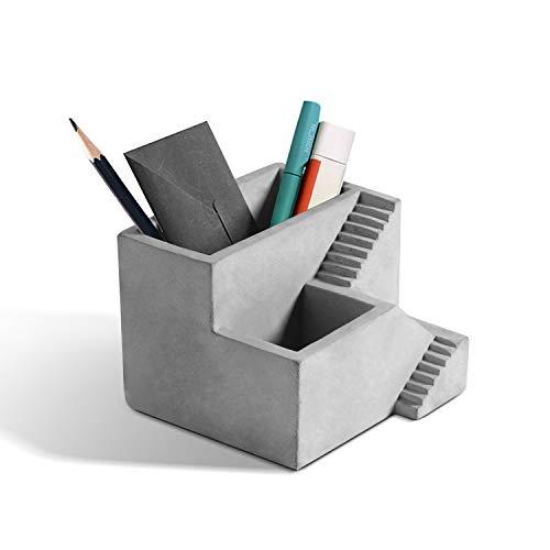 ComSaf Portalápices de Cemento Gris, Porta Lápiz Creativo Organizadores Pequeña Bote para Bolígrafo Plumas Lapices Crayón Estudio y Oficina Decoración de Escritorio