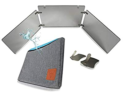 Viribus GAT Trifold Mirror - 3 Way Mirror Used for Self Hair Cutting, Fogless Shaving in The Shower, Makeup, Hair Styling and Coloring. The Perfect Travel Mirror. G.A.T. - Go Anywhere Tri fold