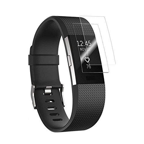 Qianyou für Fitbit Charge 2 Schutzfolie, [2 Stück] Weich TPU Displayschutzfolie für Fitbit Charge2 Klar HD Anti-Blase Anti-Fingerprint Anti-Kratzer Panzerglassfolie Displayschutz Schutzfolie