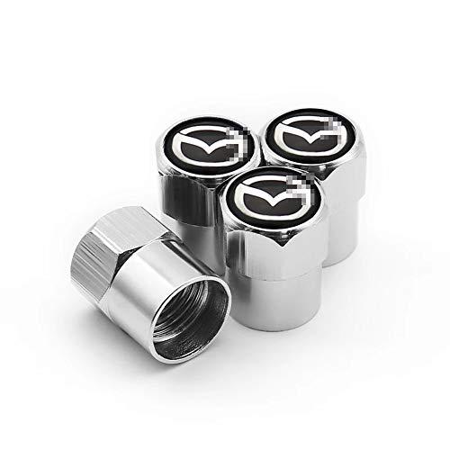 LOPLP Aluminiumlegierung Auto Rad Reifen Ventil Vorbau Kappen Abdeckung Reifen Staubkappe für Mazda 2 3 6 MX-5 MX-30 CX-3 CX-8 CX-9 ATENZA Millenia, Ventil Luftkappen Gehäuse, 4 STK