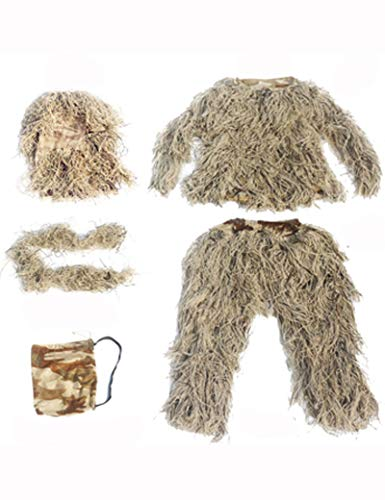 Poser Ghillie Suit Camo 3D Woodland Camo Jungle Leaf Traje De Camuflaje Caza Traje Ejército Airsoft Disparos Halloween para Adultos