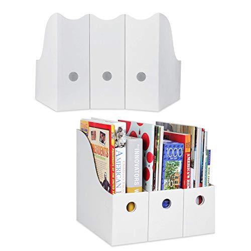 Dunwell White Magazine File Holders - (Set of 12), Sturdy Cardboard Magazine Holders, Magazine Organizers and Storage, Use Magazine Storage Boxes as White File Organizers and Cardboard Book Boxes