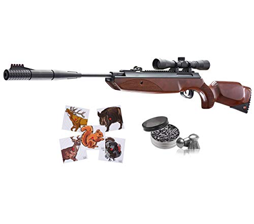 Wearable4U Umarex Forge Combo (4x32 w/Rings) .177 Cal Gas Piston Break Barrel Air Rifle with 100ct Paper Targets 500 Lead Pellets Bundle