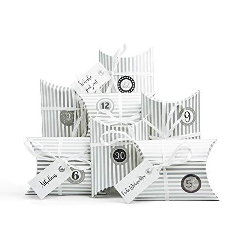 Plantvibes 24 Adventskalender Boxen, Geschenkboxen aus hochwertiger Pappe inkl. 3 x 24 Sticker, DIY Adventskalender zum Befüllen und selber Machen, Adventstüten für Kinder und Erwachsene