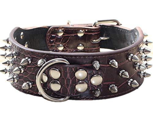 haoyueer Collar de perro de cuero con tachuelas de bala de 5 cm de ancho, elegantes collares de perro para perros medianos y grandes Pitbull … (M, marrón)