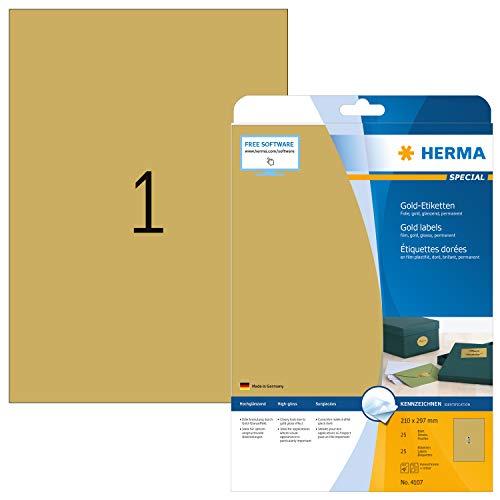 HERMA 4107 Wetterfeste Folien-Etiketten DIN A4 gold (210 x 297 mm, 25 Blatt, Polyesterfolie, glänzend) selbstklebend, bedruckbar, permanent haftende Etiketten Aufkleber, 25 Klebeetiketten