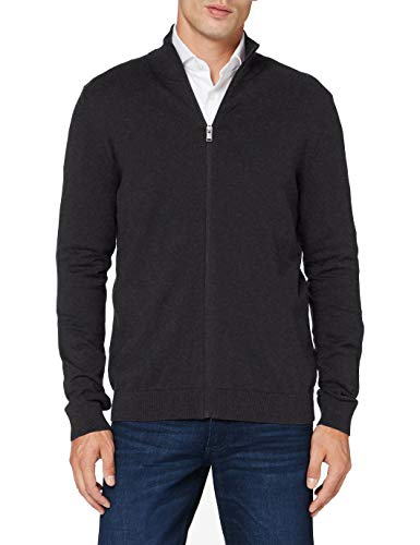 SELECTED HOMME Male Strickjacke Pima-Baumwoll MAntracit