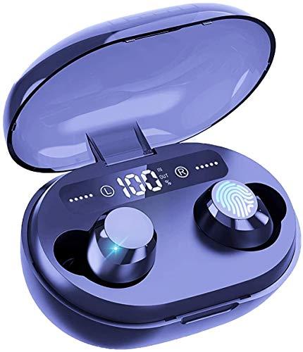 Salandens Auricular bluetooth inalámbrico IPX6, Audifonos Bluetooth 5.0 Deportivos resistentes al agua, 65 horas de tiempo de reproducción, Bluetooth 5.0, estéreo TWS , HD con caja de carga de 1200mAh, pantalla LCD HD de luz fría