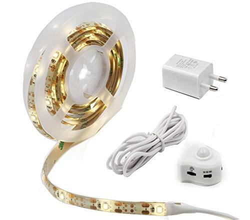 Jindia Dimmbar Bewegung aktiviert Bett Licht, Flexible LED Streifenlicht, Auto Ein/Aus Bewegungsmelder Nachttischlampe, Bewegung aktivierte LED-Lichtleiste (ein Sensoren)
