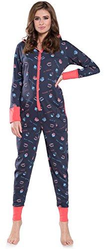 Italian Fashion IF Pijama Entero Mono Mujer IF180012 (Marino-3, S)