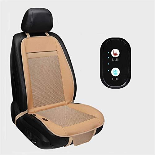 XJZKA Autositzbezüge, beheizter 12V/24V Sitzkissenbezug - Universeller Sitzwärmer mit 3 Stufen Sicherheitsheizung - Automatische Abschaltung (Farbe: Beige, Größe: 1 Packung)