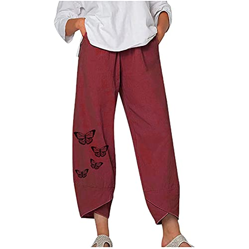 1111 Cotton Linen Pants for Women Casual Trousers with Pockets Fashion Elastic Waist Dandelion Print Summer Wide Leg Pants Breathable Sweat-Absorbent Quick-Drying Sportswear