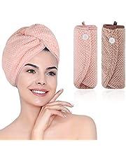 Haar Drogen Handdoeken, m Zimoon Haarhanddoek Wrap Microfiber Haar Tulband Handdoek Super Absorberend Haar Cap Hoofd Wrap Handdoeken (2 stuks, Bruin & Roze)