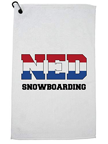 Hollywood Thread Nederlands Snowboarden - Winter Olympisch - NED Flag Golf Handdoek met Karabijnhaak Clip
