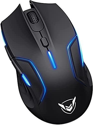 Mouse da gioco senza fili, con retroilluminazione RGB personalizzabile con 6 pulsanti programmabili, autonomia di 220 ore, frequenza di interrogazione di 1 ms, regolabile fino a 10.000 DPI