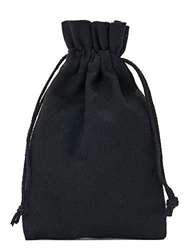 12 Baumwollsäckchen, Baumwollbeutel in Größe 15x10 cm mit Baumwollkordel, Geschenksäckchen, Adventskalender (Schwarz)