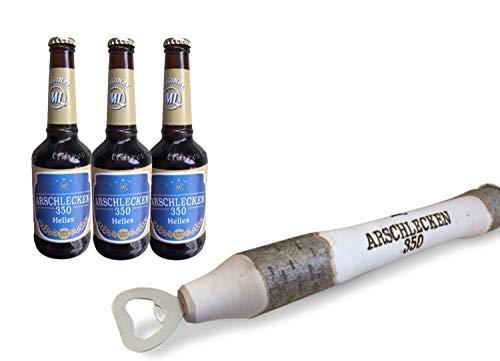 Geschenkset Arschlecken 350 Bierprügel XXL Männergeschenk inkl. 3 Flaschen Helles Bier Arschlecken 350