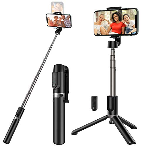 small Yoozon selfie tripod with Bluetooth, expandable phone tripod with wireless remote control …