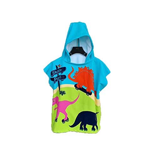 Chickwin Badeponcho mit Kapuze Kind Poncho Handtuch, Kinderhandtuch Strand Schwimmen Bad Kapuzenhandtuch Bademantel Zum Wechseln für Jungen Mädchen (60x120cm,Grüner Dinosaurier)