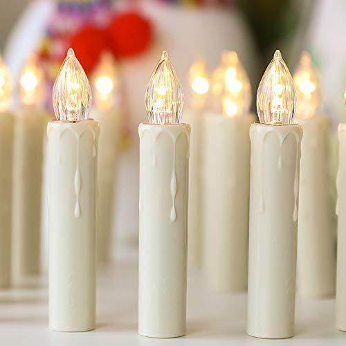 30 LED Kerzen Flammenlose mit Timer Fernbedienung,Starker Weihnachtskerzen Batteriebetriebene, IP64 Dimmbar Kerzenlichter Weihnachtskerzen für Weihnachtsbaum,Weihnachtsdeko,Hochzeit,Geburtstags,Ostern