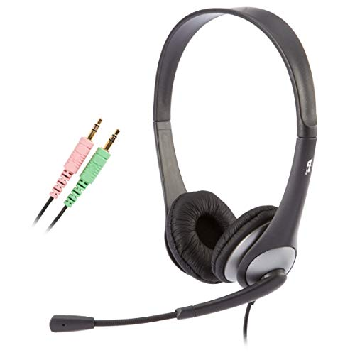 Cyber Acoustics - AC-201 Stereo Headset with Separate Headphone and Microphone Jacks, Great for K12 School Classroom and Education (AC-201) Silver