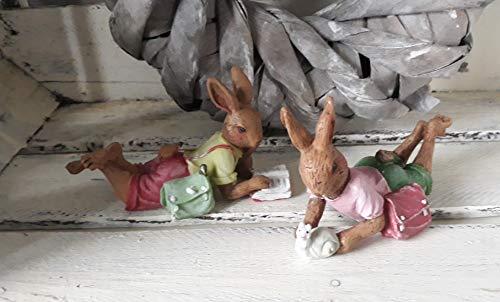 Niedliches Hasenpaar Hasenkinder liegend Polyresin Osterdeko Ostern Tischdeko Landhaus Stil Hasen