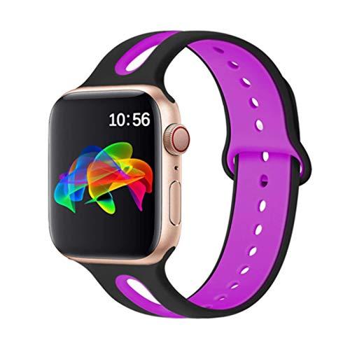Correa de silicona para Apple Watch Band 44mm 42mm 40mm 38mm Pulsera Pulsera deportiva para IWatch 6 5 4 3 2 40 38 42 44 Mm Accesorios-negro Morado 4,42mm-44mm S