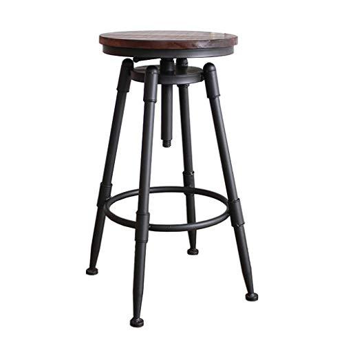ZHXZHXMY Simple Family Stool Industrie Stil Jahrgang Bistro Barhocker, Küche Dining Chair, Holz Metall Barhocker, Swivel Theke Höhe Hocker, höhenverstellbar 27.5-35.8inch