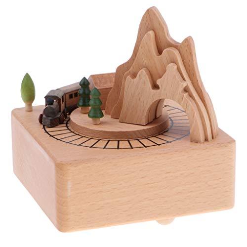 Homyl Holz Spieluhr Spieldose mit Musik Eisenbahn/Riesenrad/Windmühle/Karussell/Gebäude Musik Box Spielzeug - A