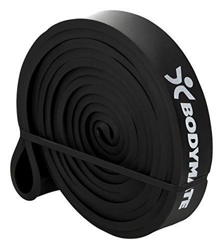 BODYMATE Fitnessband 208 cm, elastisches Widerstandsband aus Naturlatex, trainiert Kraft, Ausdauer, Koordination, Flexibilität UVM, für Anfänger & Profis, in Schwarz