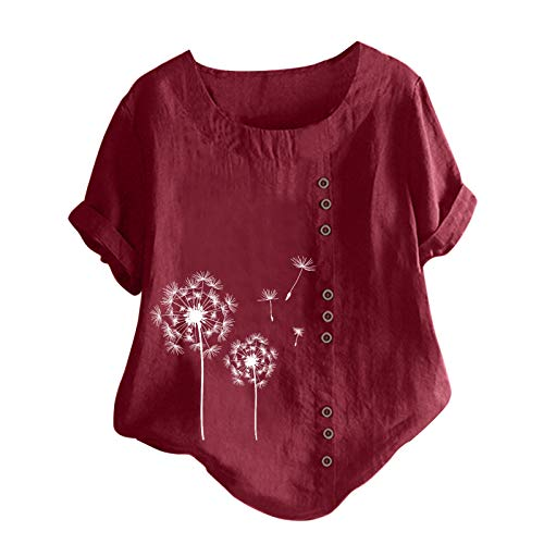 Tuniken Leinen Kurzarm Tee Tops Tshirt Bluse Schmetterling Druck Shirt Giraffe mit Blumen Drucken T-Shirt Tunika Damen Herbst Leinen T Shirt Wein #21 XL