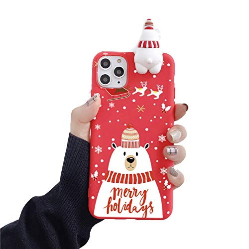 EYDLK Cute 3D Cartoon Christmas Santa Reindeer Tree Soft Phone Case for iPhone 11 Pro Max 12 XR Plus SE Cover Gift-C-for iPhone 12 Mini