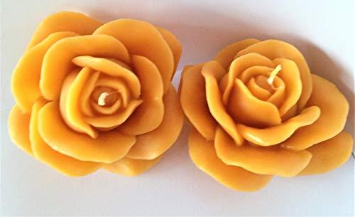 Wieschalla-Design 12€/STK Bienenwachskerze Rosenblüte Rosenkerze GELB ca. 10 x 10 x 6 cm Bienenwachs Kerze Rose Geschenk