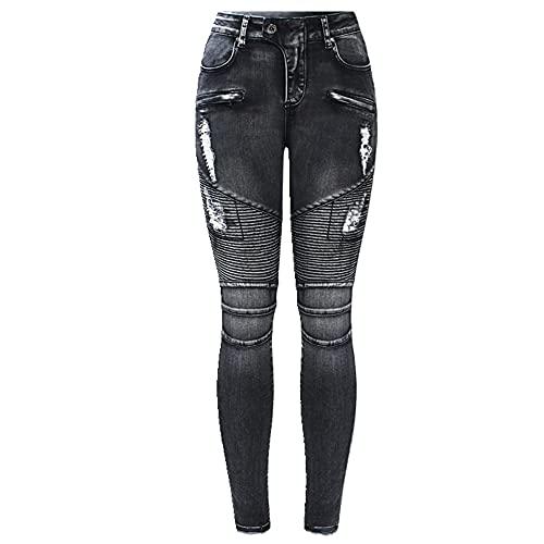 N\P Pantalones vaqueros ajustados para mujer con cremallera y cintura alta para motociclista, pantalones vaqueros para mujer, Negro, XXXL