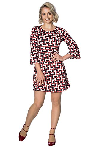 Stunning womens retro 60s dress by Banned Apparel Finished with a black / white circular pattern Flared, 3/4 sleeves and a zip closure to the rear