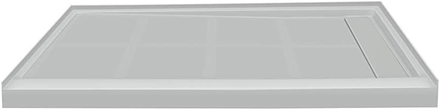 Transolid FL4832R-39 Linear 48-in x 32-in Rectangular Alcove Shower Base with Right Hand Drain, Grey