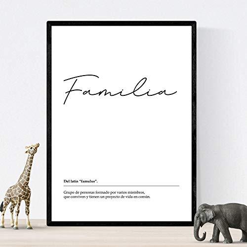 Lámina Palabra Familia Lámina nordicas blanco y negro. Poster 250 gr y tintas alta calidad Tamaño A4 Sin marco