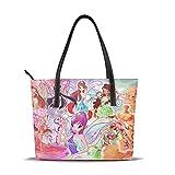 zhengdong Winx Club Tote Bag Borse in pelle con cerniera, grande capacità impermeabile durevole adatto per viaggi di lavoro Shopping Party