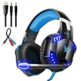 Auriculares de Juego con micrófono Control de Volumen y Luces LED, Color Azul