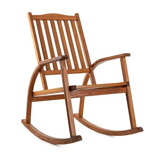 Ampel 24 Schaukelstuhl Texas, Gartenstuhl mit Armlehnen und hoher Rückenlehne aus Holz, Stuhl braun, Gartenmöbel aus sibirischer Lärche